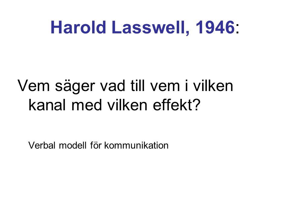 Harold Lasswell, 1946: Vem säger vad till vem i vilken kanal med vilken effekt? Verbal modell för kommunikation