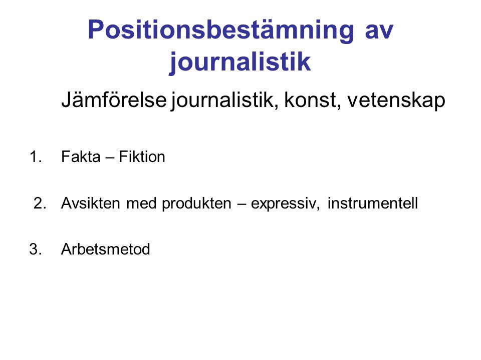 Positionsbestämning av journalistik Jämförelse journalistik, konst, vetenskap 1.Fakta – Fiktion 2. Avsikten med produkten – expressiv, instrumentell 3
