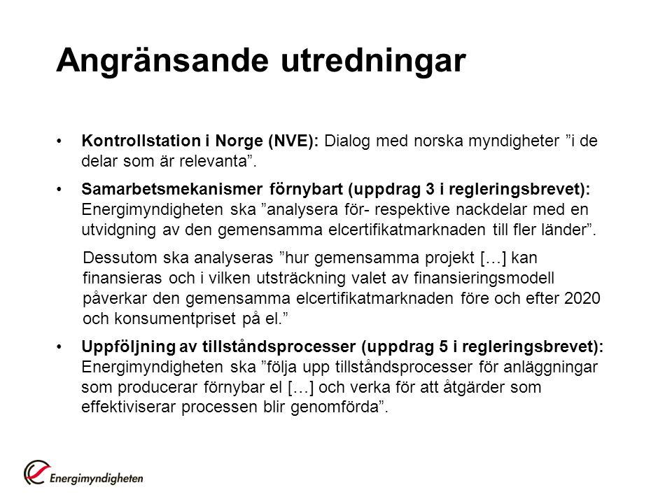 """Angränsande utredningar •Kontrollstation i Norge (NVE): Dialog med norska myndigheter """"i de delar som är relevanta"""". •Samarbetsmekanismer förnybart (u"""
