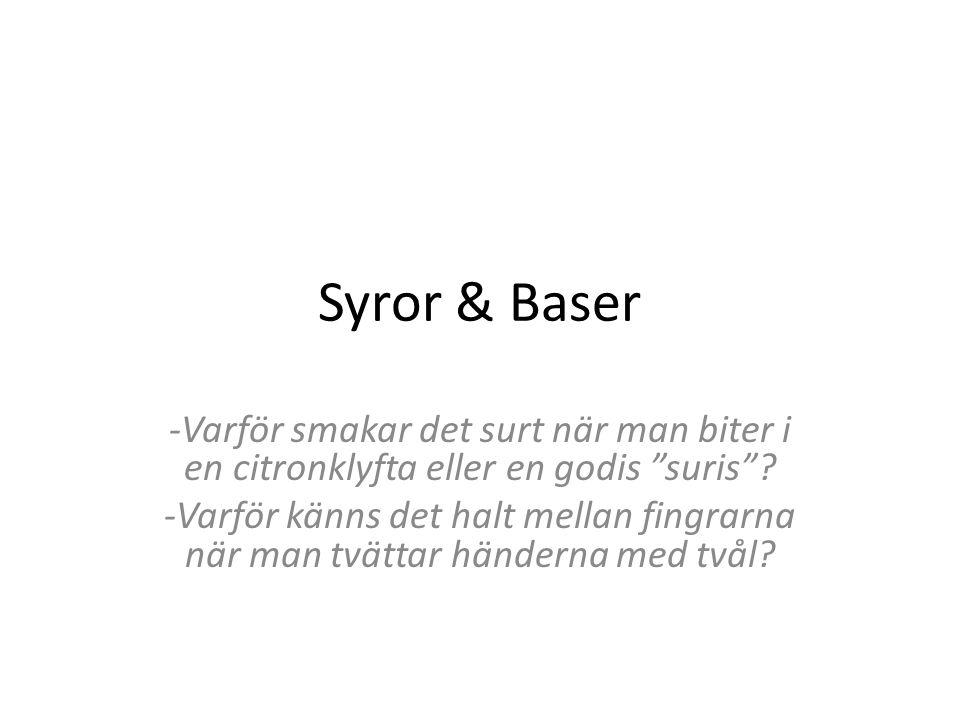 """Syror & Baser -Varför smakar det surt när man biter i en citronklyfta eller en godis """"suris""""? -Varför känns det halt mellan fingrarna när man tvättar"""
