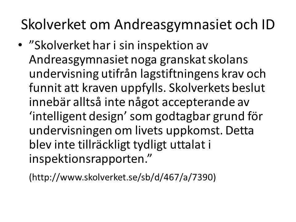 """Skolverket om Andreasgymnasiet och ID • """"Skolverket har i sin inspektion av Andreasgymnasiet noga granskat skolans undervisning utifrån lagstiftningen"""