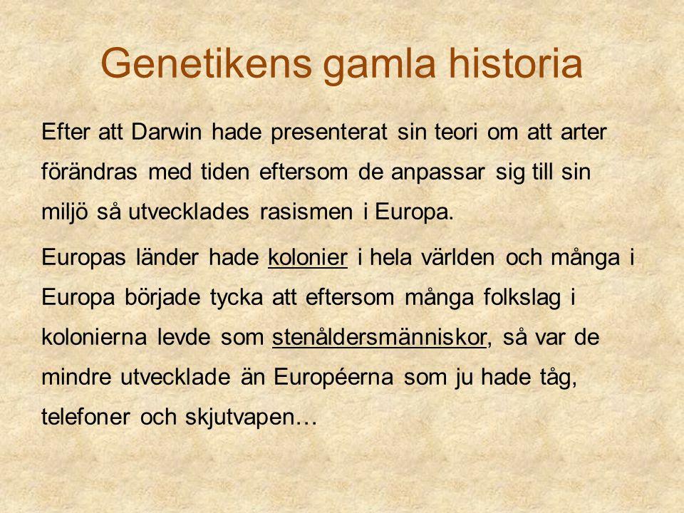 Genetikens gamla historia Efter att Darwin hade presenterat sin teori om att arter förändras med tiden eftersom de anpassar sig till sin miljö så utve