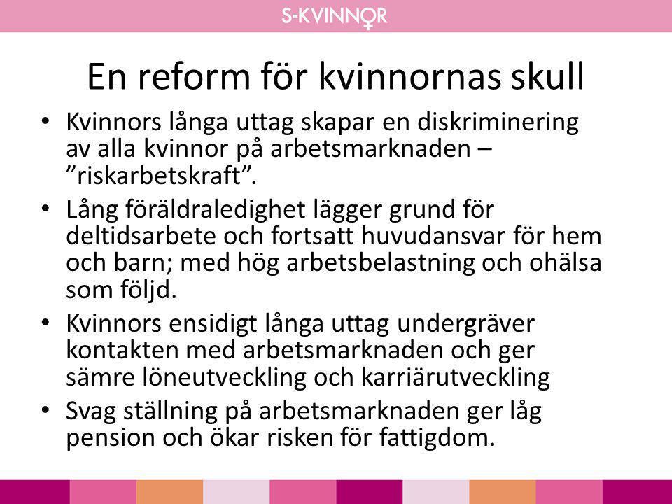 """En reform för kvinnornas skull • Kvinnors långa uttag skapar en diskriminering av alla kvinnor på arbetsmarknaden – """"riskarbetskraft"""". • Lång föräldra"""