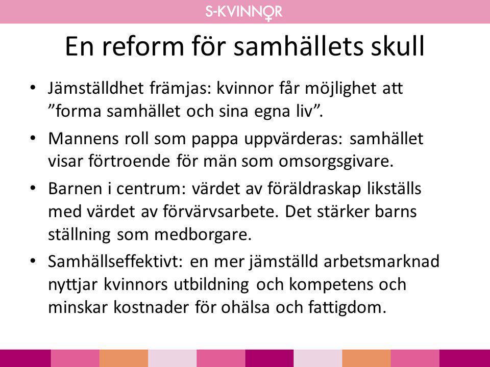 """En reform för samhällets skull • Jämställdhet främjas: kvinnor får möjlighet att """"forma samhället och sina egna liv"""". • Mannens roll som pappa uppvärd"""