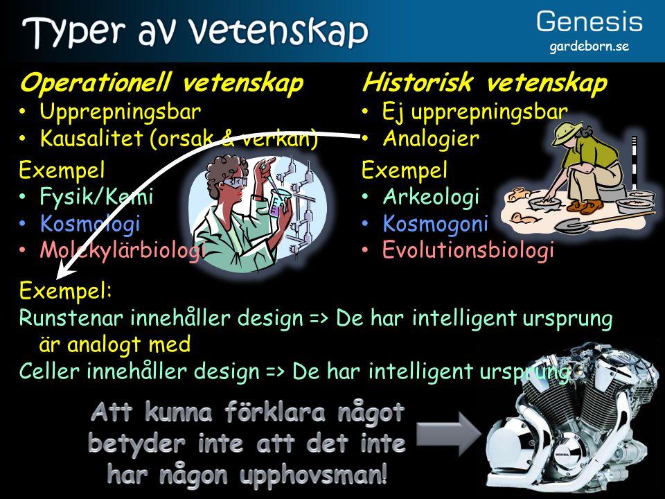 gardeborn.se Exempel: Runstenar innehåller design => De har intelligent ursprung är analogt med Celler innehåller design => De har intelligent ursprun