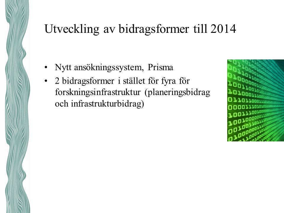 Utveckling av bidragsformer till 2014 •Nytt ansökningssystem, Prisma •2 bidragsformer i stället för fyra för forskningsinfrastruktur (planeringsbidrag