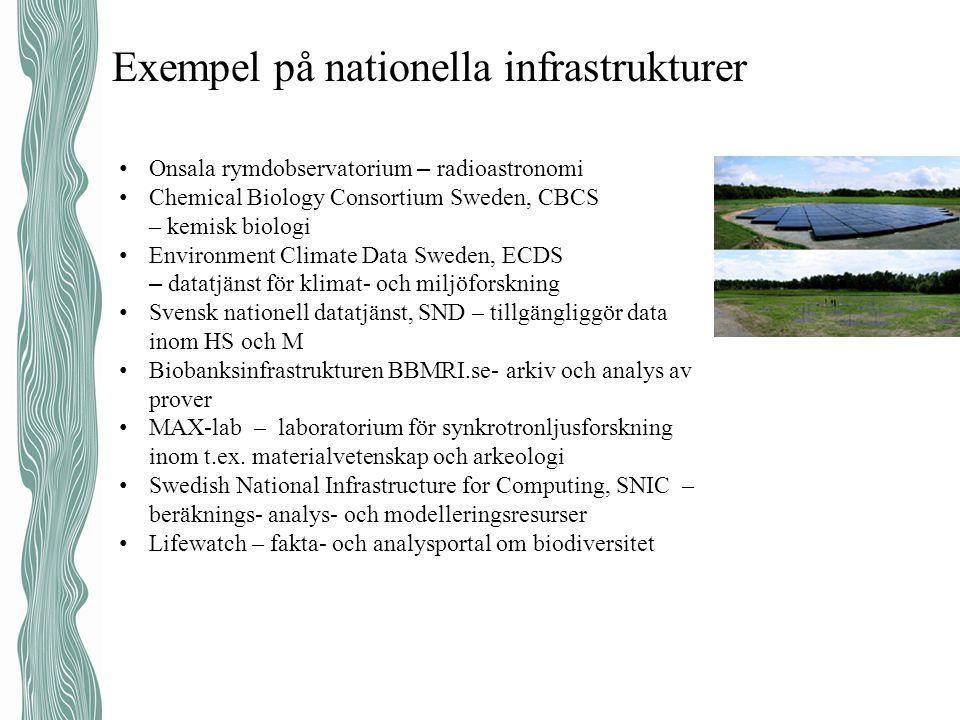 Exempel på nationella infrastrukturer • Onsala rymdobservatorium – radioastronomi • Chemical Biology Consortium Sweden, CBCS – kemisk biologi • Enviro