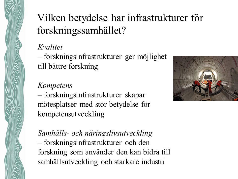Uppdrag att långsiktigt utveckla forskningsinfrastruktur i Sverige och Sveriges medverkan internationellt.
