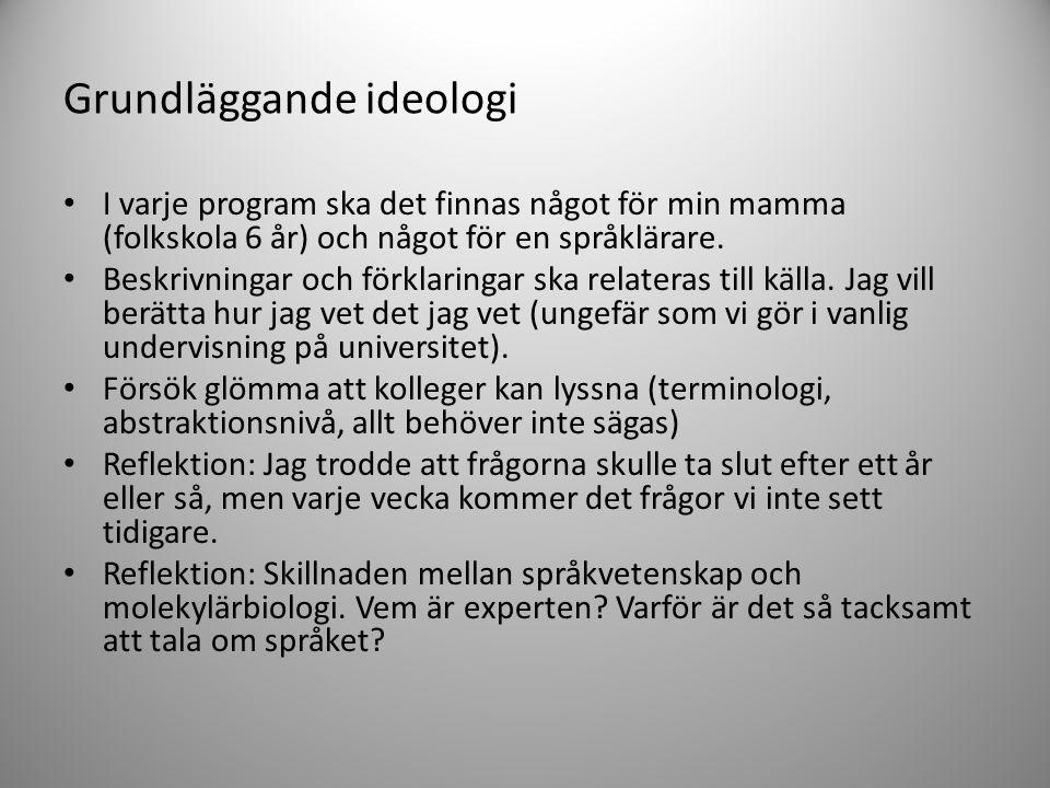 Grundläggande ideologi • I varje program ska det finnas något för min mamma (folkskola 6 år) och något för en språklärare. • Beskrivningar och förklar