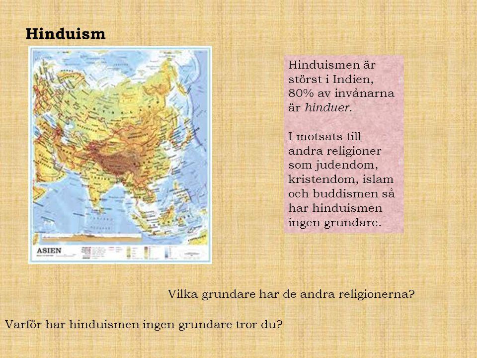 Hinduism Hinduismen är störst i Indien, 80% av invånarna är hinduer. I motsats till andra religioner som judendom, kristendom, islam och buddismen så