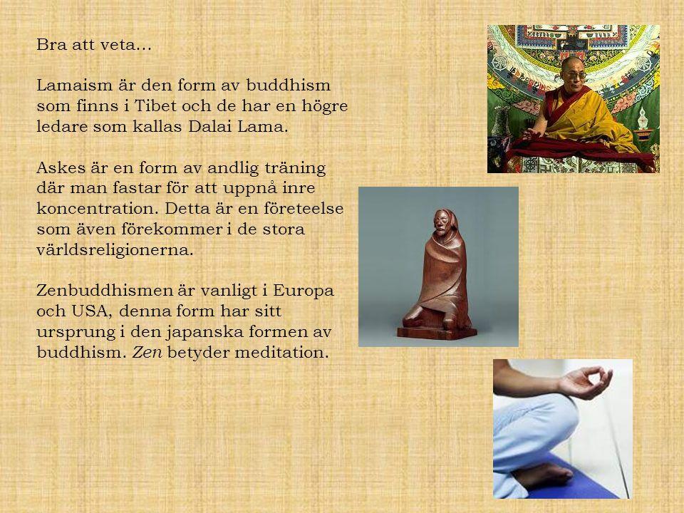 Bra att veta… Lamaism är den form av buddhism som finns i Tibet och de har en högre ledare som kallas Dalai Lama. Askes är en form av andlig träning d