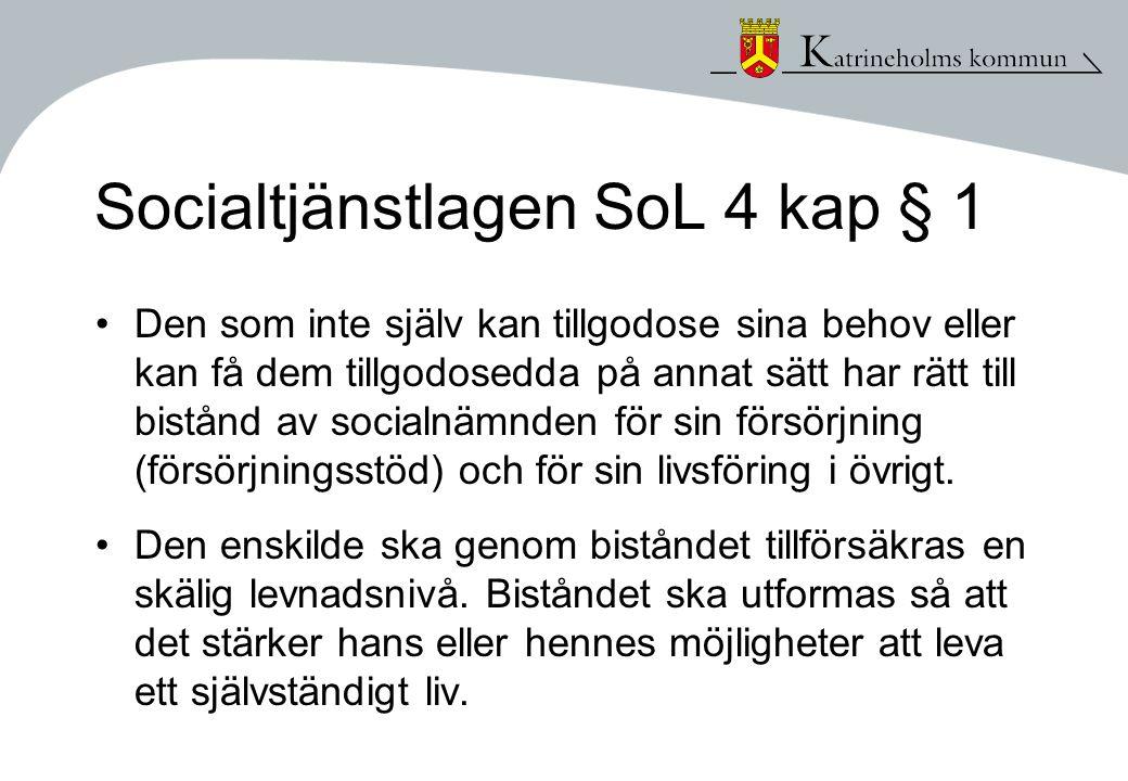 Socialtjänstlagen SoL 4 kap § 1 •Den som inte själv kan tillgodose sina behov eller kan få dem tillgodosedda på annat sätt har rätt till bistånd av so