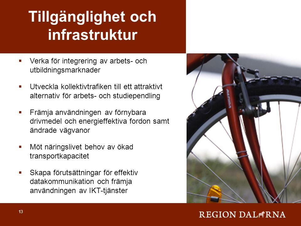 13 Tillgänglighet och infrastruktur  Verka för integrering av arbets- och utbildningsmarknader  Utveckla kollektivtrafiken till ett attraktivt alter