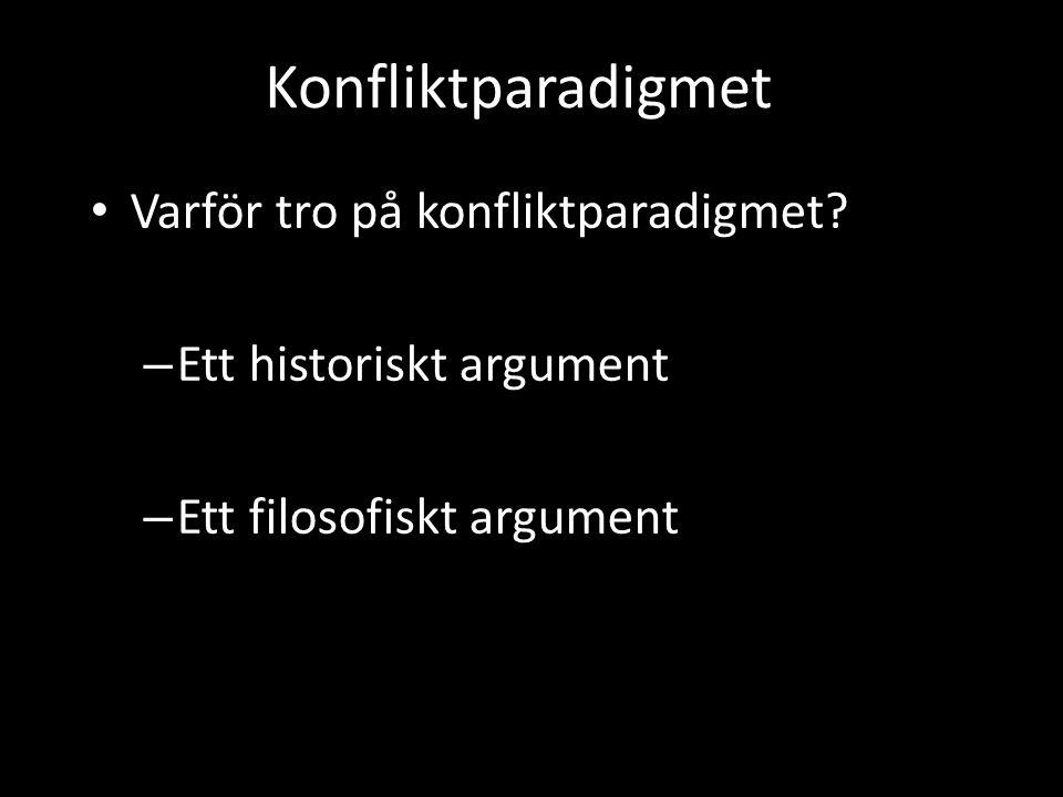 Konfliktparadigmet • Varför tro på konfliktparadigmet? – Ett historiskt argument – Ett filosofiskt argument