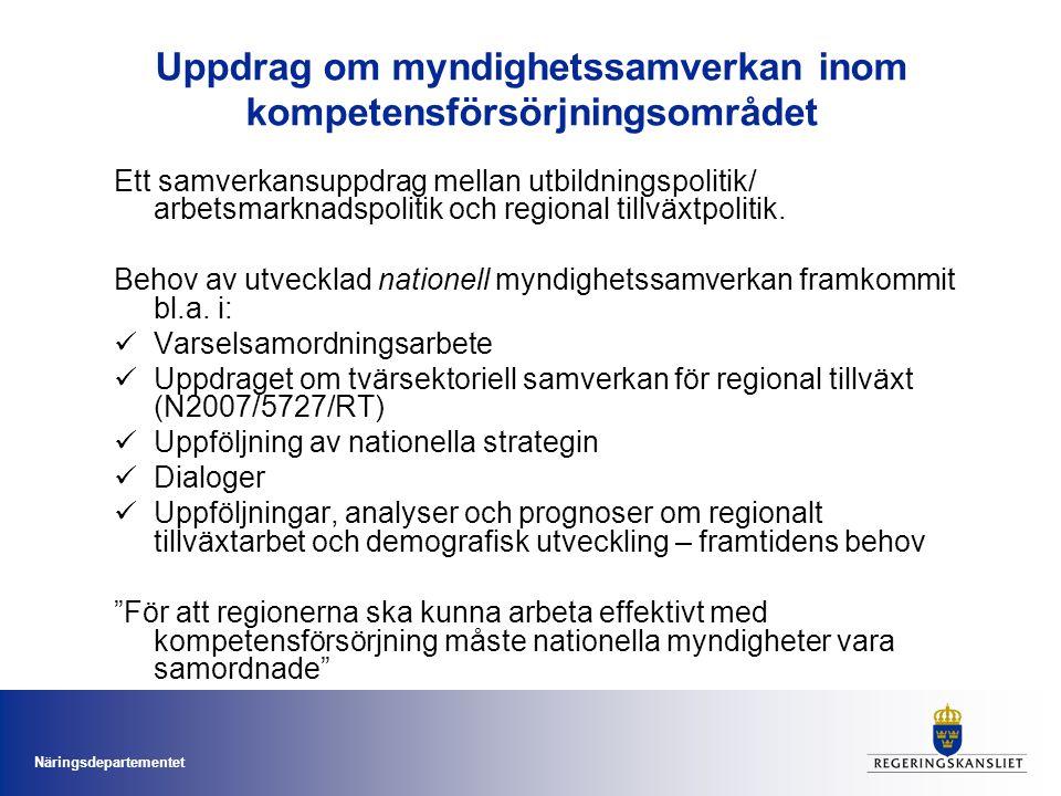 Näringsdepartementet Ett samverkansuppdrag mellan utbildningspolitik/ arbetsmarknadspolitik och regional tillväxtpolitik. Behov av utvecklad nationell