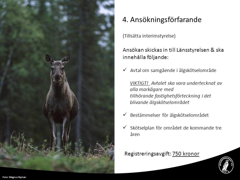 4. Ansökningsförfarande Foto: Magnus Nyman (Tillsätta interimstyrelse) Ansökan skickas in till Länsstyrelsen & ska innehålla följande:  Avtal om samg