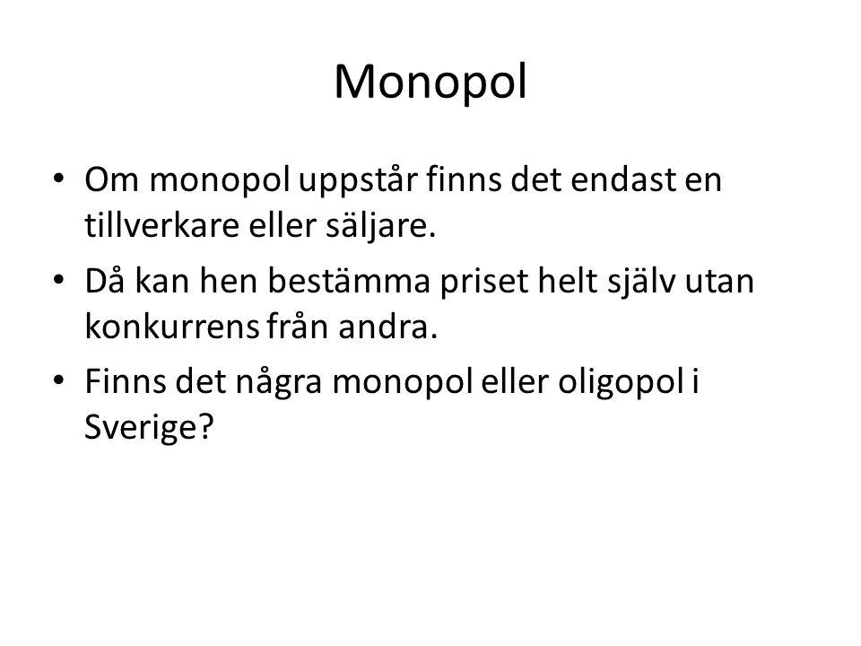 Monopol • Om monopol uppstår finns det endast en tillverkare eller säljare. • Då kan hen bestämma priset helt själv utan konkurrens från andra. • Finn