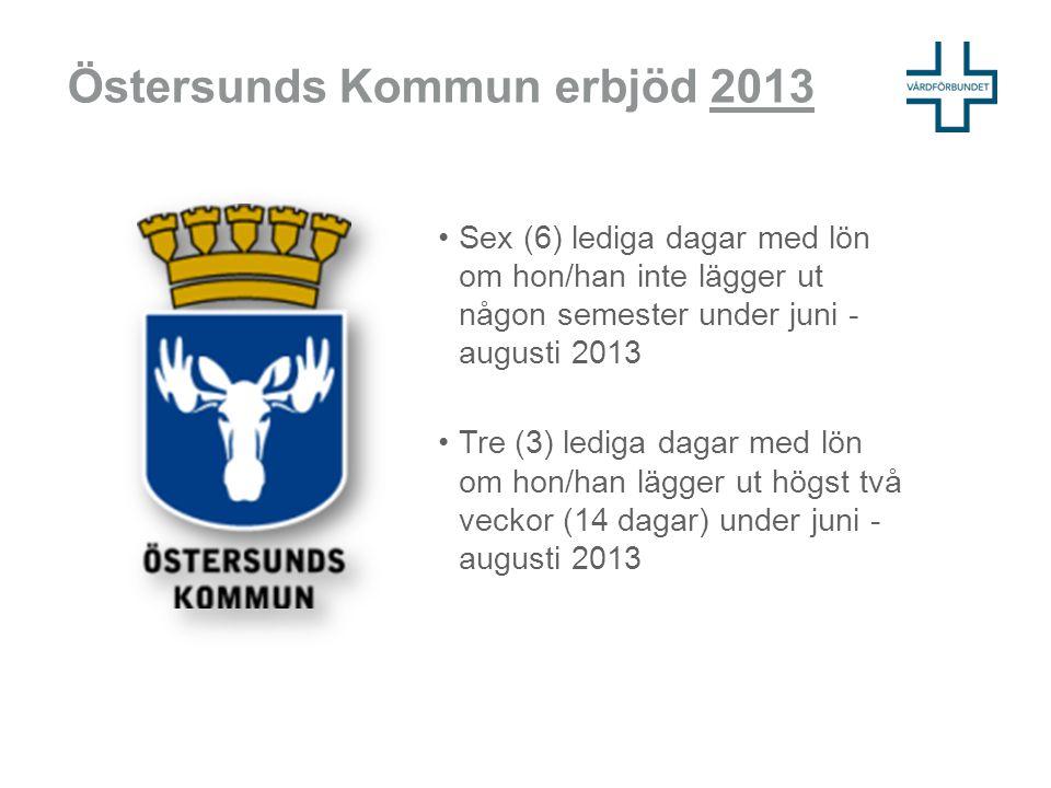 Östersunds Kommun erbjöd 2013 •Sex (6) lediga dagar med lön om hon/han inte lägger ut någon semester under juni - augusti 2013 •Tre (3) lediga dagar m