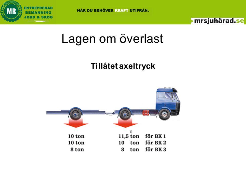Lagen om överlast Tillåtet boggitryck Boggi är när två axlar i ett fordon har ett inbördes avstånd som är mindre än 2,0 meter.