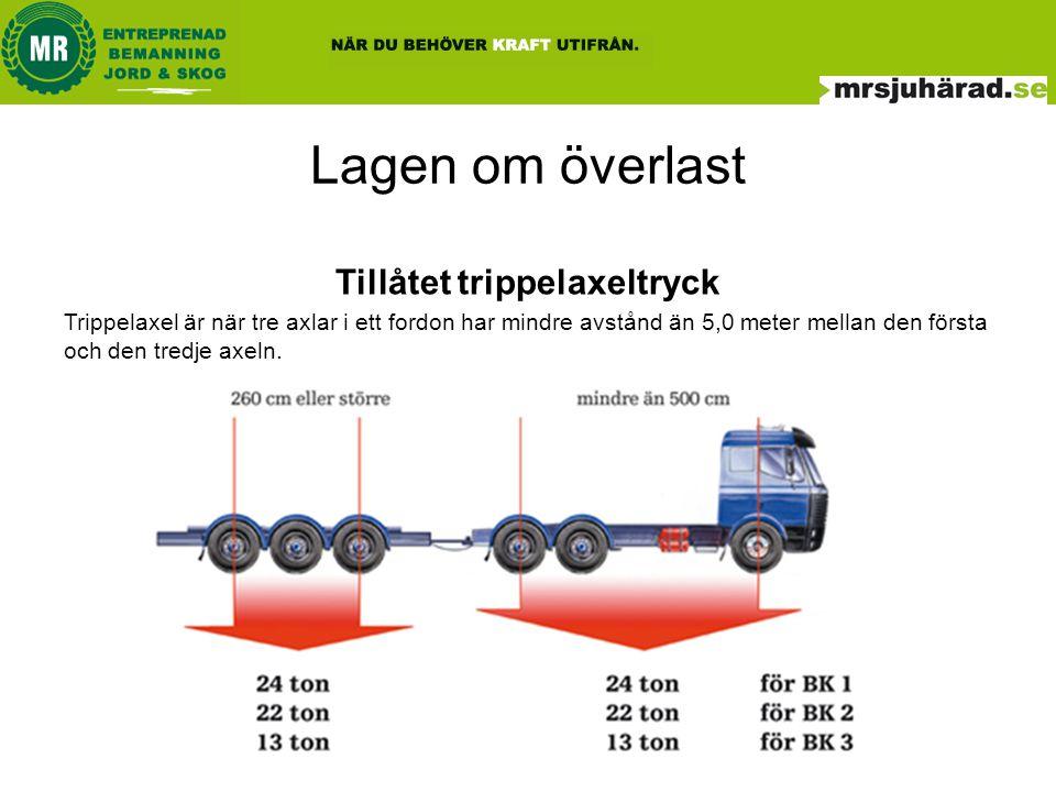 Lagen om överlast •Det gäller samma regler för bruttovikt för fordon och fordonståg, axeltryck boggitryck m.m.