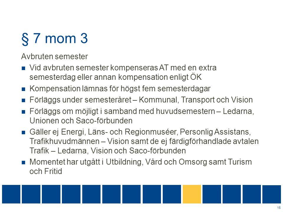 § 7 mom 3 Avbruten semester  Vid avbruten semester kompenseras AT med en extra semesterdag eller annan kompensation enligt ÖK  Kompensation lämnas f