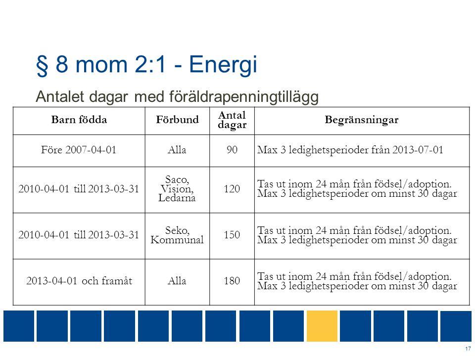 § 8 mom 2:1 - Energi Antalet dagar med föräldrapenningtillägg 17 Barn föddaFörbund Antal dagar Begränsningar Före 2007-04-01Alla90Max 3 ledighetsperio