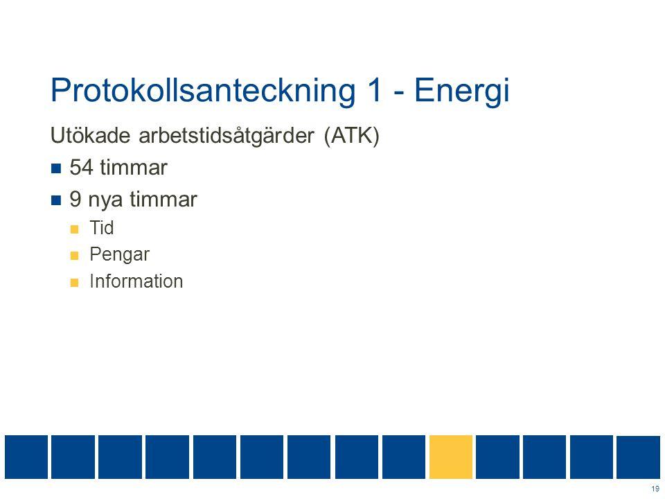 Protokollsanteckning 1 - Energi Utökade arbetstidsåtgärder (ATK)  54 timmar  9 nya timmar  Tid  Pengar  Information 19
