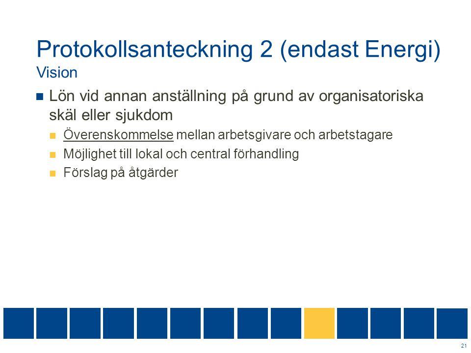 Protokollsanteckning 2 (endast Energi) Vision  Lön vid annan anställning på grund av organisatoriska skäl eller sjukdom  Överenskommelse mellan arbe