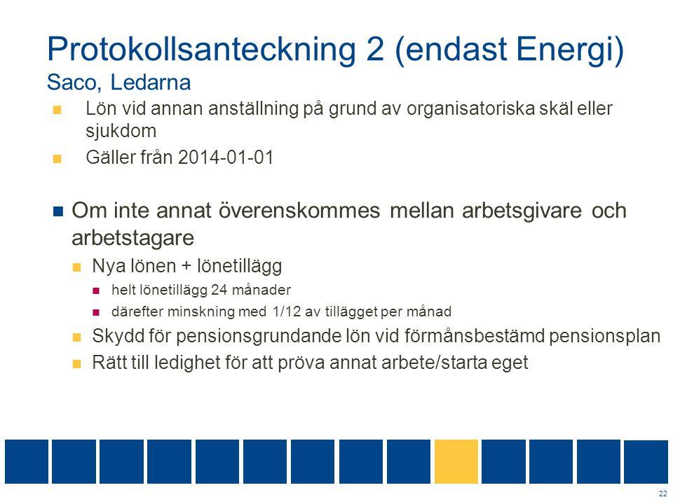 Protokollsanteckning 2 (endast Energi) Saco, Ledarna  Lön vid annan anställning på grund av organisatoriska skäl eller sjukdom  Gäller från 2014-01-