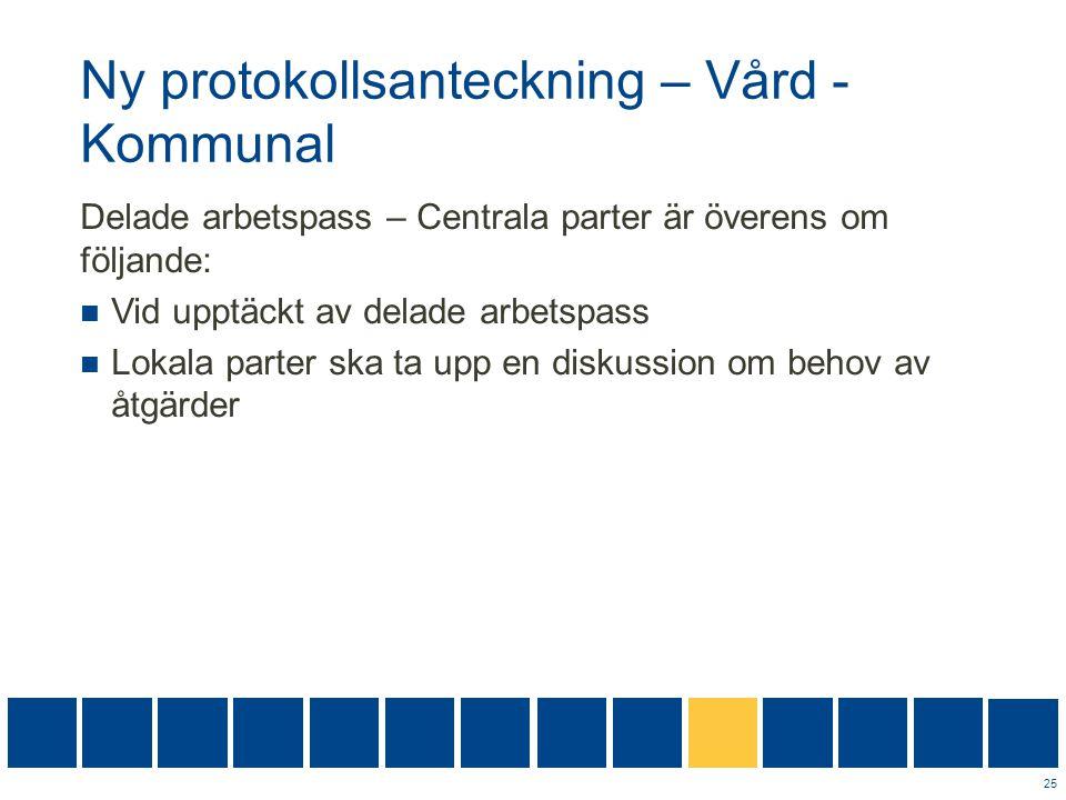 Ny protokollsanteckning – Vård - Kommunal Delade arbetspass – Centrala parter är överens om följande:  Vid upptäckt av delade arbetspass  Lokala par