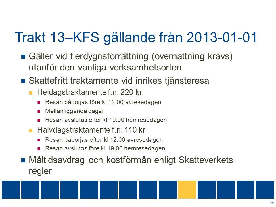 Trakt 13–KFS gällande från 2013-01-01  Gäller vid flerdygnsförrättning (övernattning krävs) utanför den vanliga verksamhetsorten  Skattefritt trakta