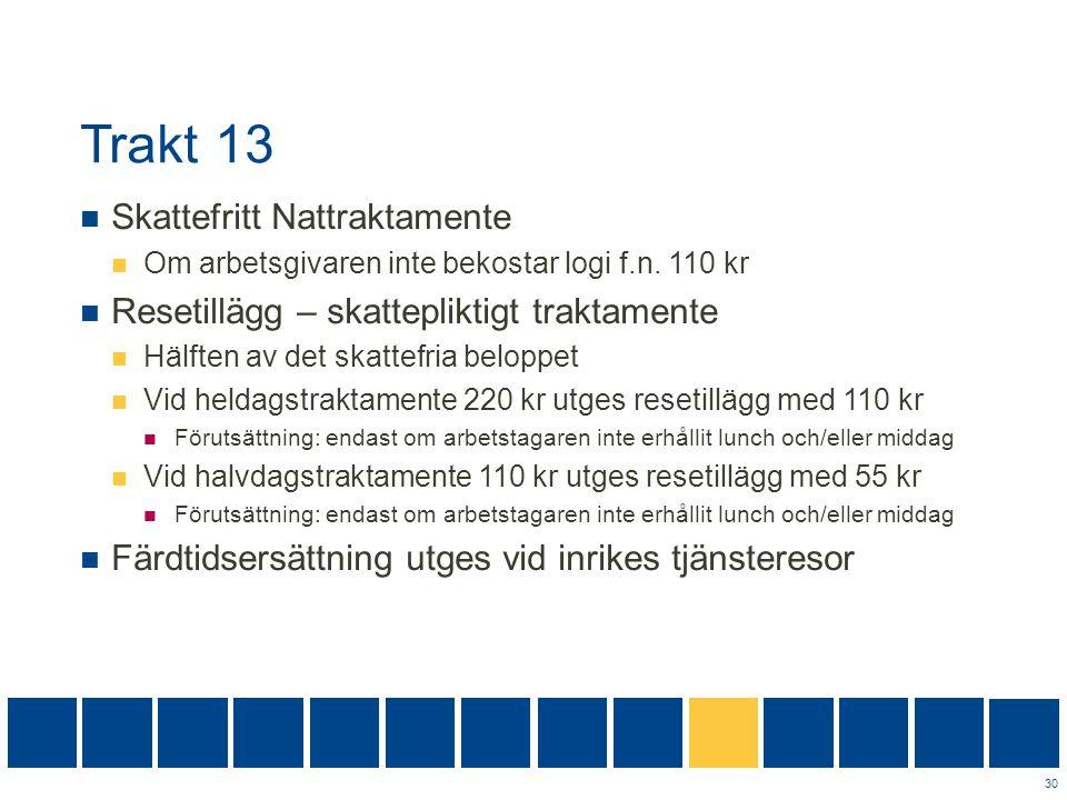 Trakt 13  Skattefritt Nattraktamente  Om arbetsgivaren inte bekostar logi f.n. 110 kr  Resetillägg – skattepliktigt traktamente  Hälften av det sk