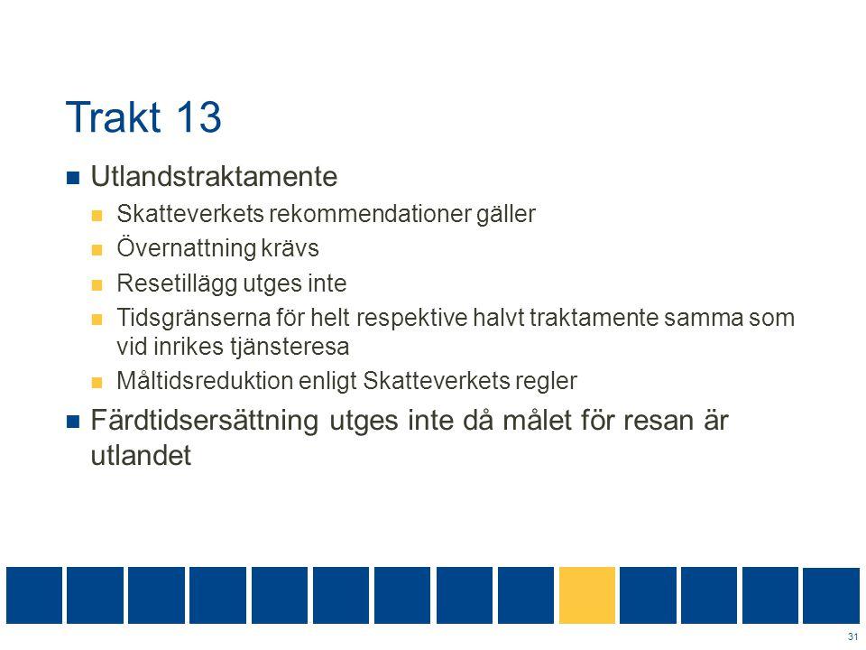 Trakt 13  Utlandstraktamente  Skatteverkets rekommendationer gäller  Övernattning krävs  Resetillägg utges inte  Tidsgränserna för helt respektiv