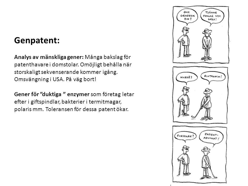 Genpatent: Analys av mänskliga gener: Många bakslag för patenthavare i domstolar. Omöjligt behålla när storskaligt sekvenserande kommer igång. Omsväng