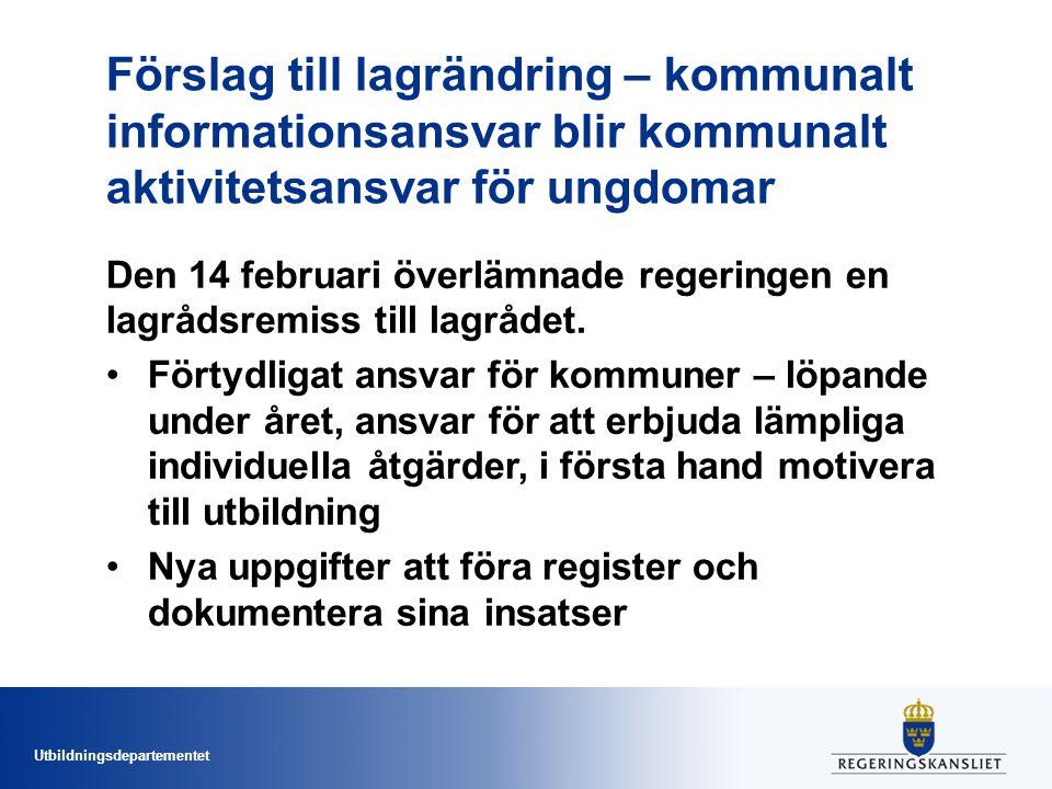 Utbildningsdepartementet Förslag till lagrändring – kommunalt informationsansvar blir kommunalt aktivitetsansvar för ungdomar Den 14 februari överlämnade regeringen en lagrådsremiss till lagrådet.