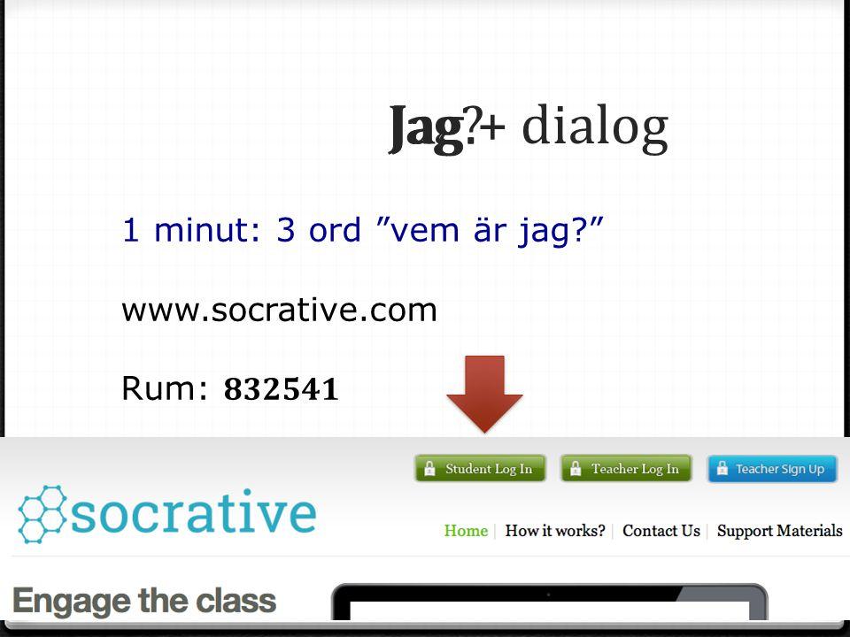 Jag. Jag? Jag + dialog 1 minut: 3 ord vem är jag? student.infuselearning.com Rum: 30389