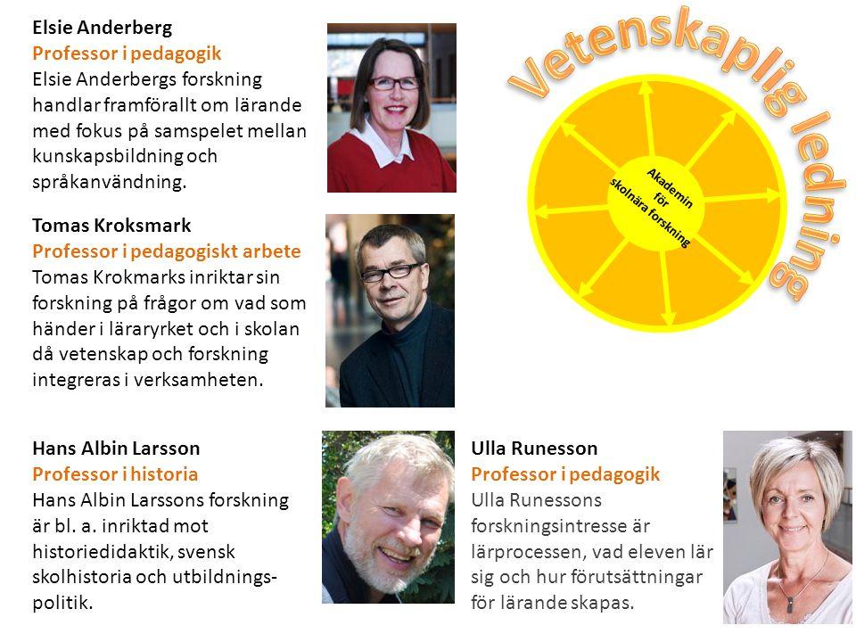 Elsie Anderberg Professor i pedagogik Elsie Anderbergs forskning handlar framförallt om lärande med fokus på samspelet mellan kunskapsbildning och spr