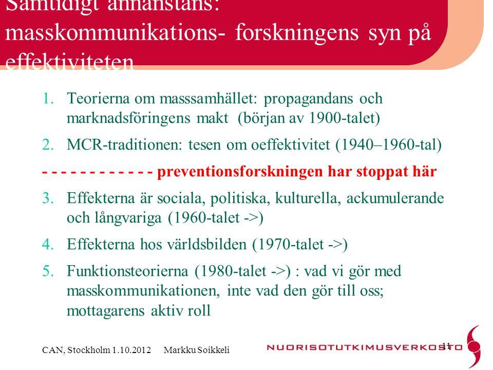 Samtidigt annanstans: masskommunikations- forskningens syn på effektiviteten 1.Teorierna om masssamhället: propagandans och marknadsföringens makt (bö