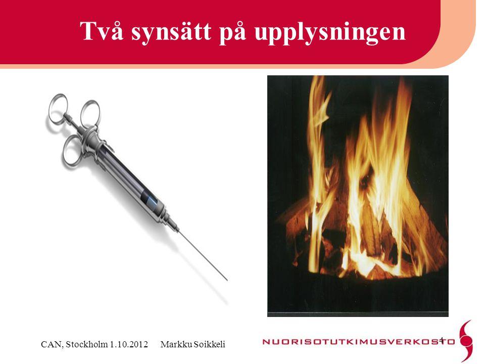 Rådande synsätt inom preventionsforskningen •Uupplysningen är ineffektiv och dyr •Det finns inga goda praxis Babor & Al: Alcohol, No Ordinary Commodity 2010 CAN, Stockholm 1.10.2012 Markku Soikkeli 5