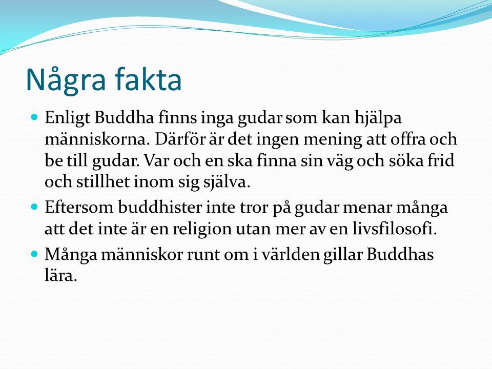 Några fakta  Buddha ses inte som en gud, han ses som klokaste människa som levt.