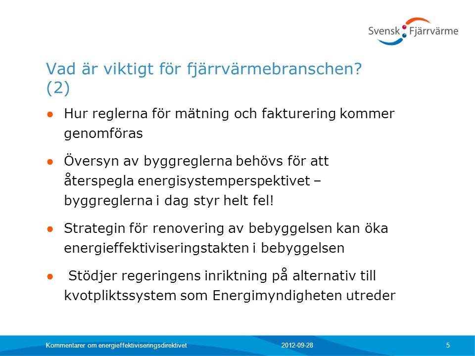 Vad är viktigt för fjärrvärmebranschen? (2) ● Hur reglerna för mätning och fakturering kommer genomföras ● Översyn av byggreglerna behövs för att åter