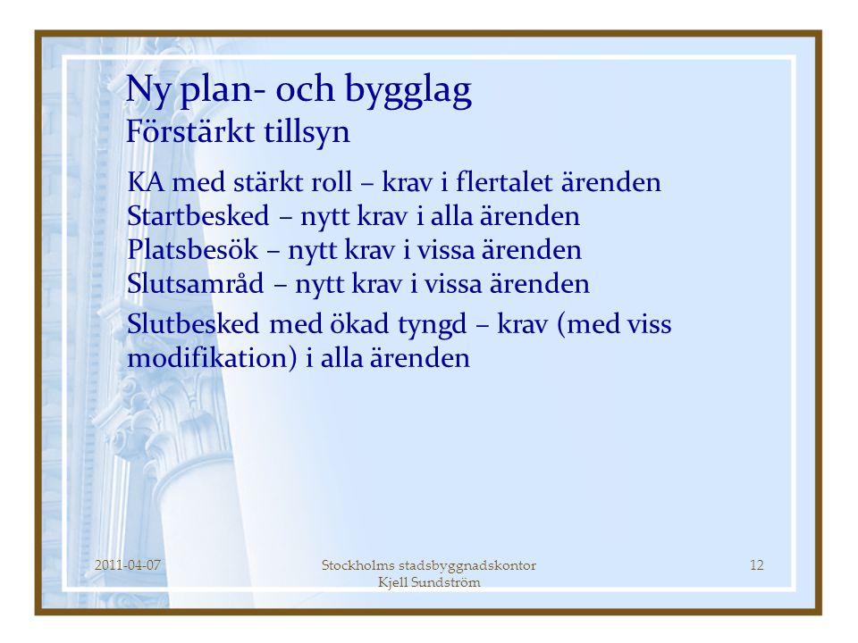 2011-04-07Stockholms stadsbyggnadskontor Kjell Sundström 12 Ny plan- och bygglag Förstärkt tillsyn KA med stärkt roll – krav i flertalet ärenden Start