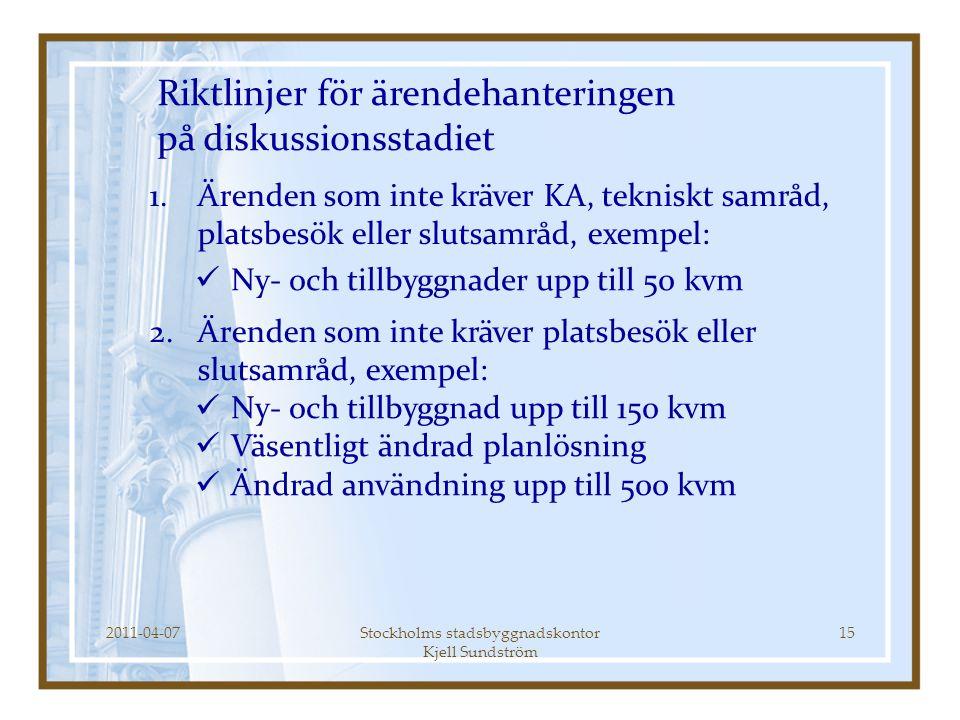 2011-04-07Stockholms stadsbyggnadskontor Kjell Sundström 15 Riktlinjer för ärendehanteringen på diskussionsstadiet  Ny- och tillbyggnader upp till 50