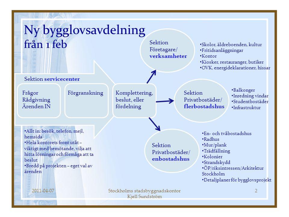 2011-04-07Stockholms stadsbyggnadskontor Kjell Sundström 2 Ny bygglovsavdelning från 1 feb Frågor Rådgivning Ärenden IN FörgranskningKomplettering, be