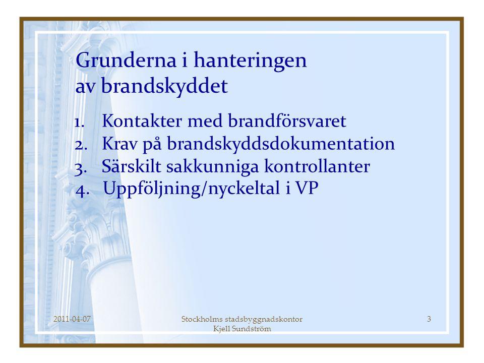2011-04-07Stockholms stadsbyggnadskontor Kjell Sundström 3 1.Kontakter med brandförsvaret 2.Krav på brandskyddsdokumentation 3.Särskilt sakkunniga kon