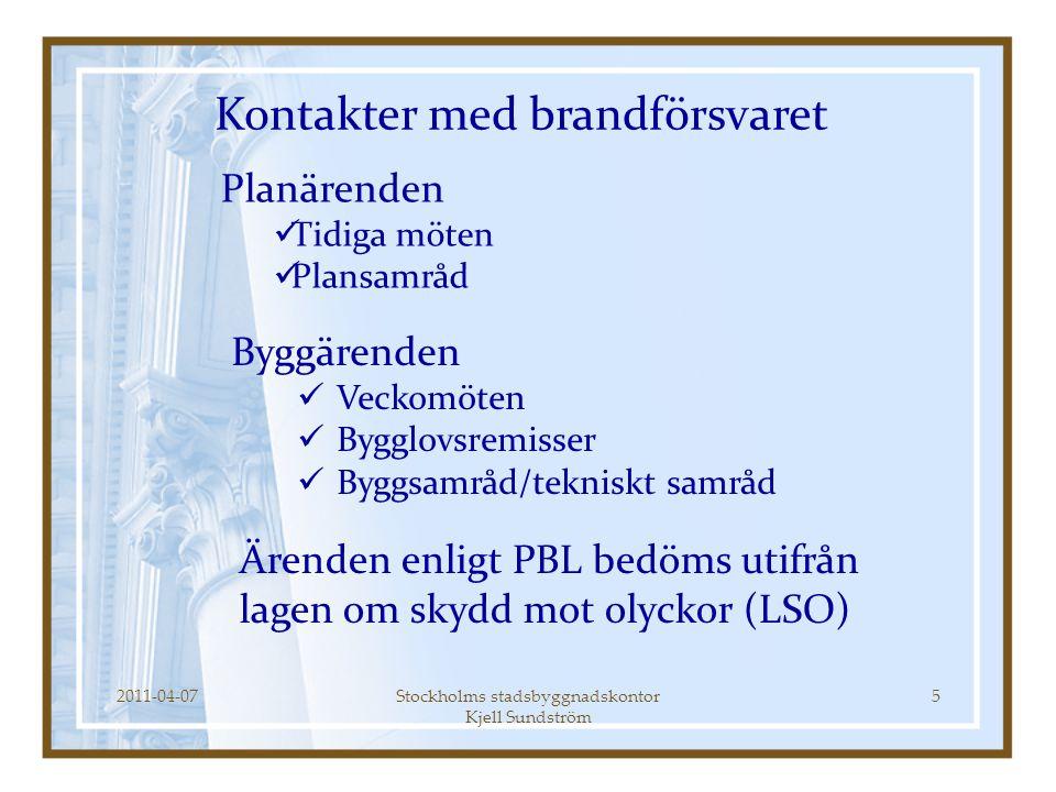 2011-04-07Stockholms stadsbyggnadskontor Kjell Sundström 5 Planärenden  Tidiga möten  Plansamråd Kontakter med brandförsvaret Byggärenden  Veckomöt