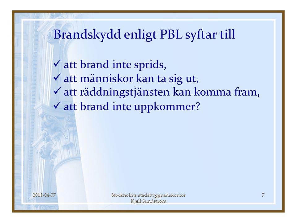 2011-04-07Stockholms stadsbyggnadskontor Kjell Sundström 8  att skydda människors liv, hälsa, egendom och miljö,  att förebygga bränder och skador till följd av bränder (och andra olyckor) Brandskydd enligt LSO syftar till För certifiering som sakkunnig enl.