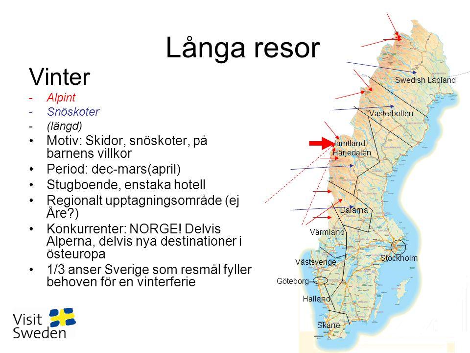 Vinter -Alpint -Snöskoter -(längd) •Motiv: Skidor, snöskoter, på barnens villkor •Period: dec-mars(april) •Stugboende, enstaka hotell •Regionalt upptagningsområde (ej Åre ) •Konkurrenter: NORGE.