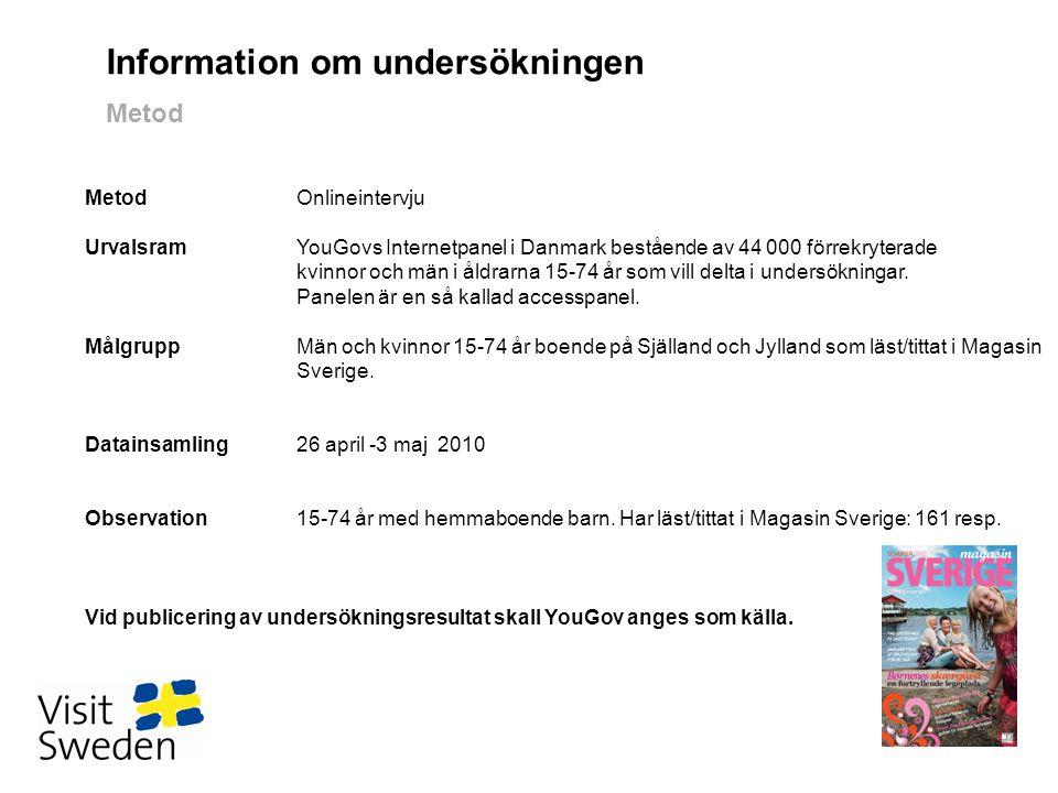 Information om undersökningen Metod 1 MetodOnlineintervju UrvalsramYouGovs Internetpanel i Danmark bestående av 44 000 förrekryterade kvinnor och män i åldrarna 15-74 år som vill delta i undersökningar.
