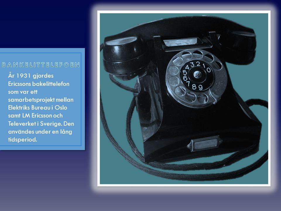 """• År1892 kom L.M Ericssons skelettapparat, som också är kallad """"taxen"""" på grund av hur den ser ut. Taxen var den första bordstelefonen med hörlur och"""